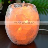 Himalayan Natural Rock Salt Lamp with glass base