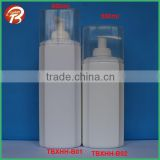 big capacity 600ml 500ml 400ml 300ml white HDPE square plastic shampoo bottle with lotion pump