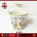 Rose Decal Garden Planter Cheap Metal Bucket Water Bucket Decor Wood Handle Buckets Fuzhou Luckywind Factory