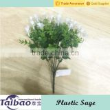 Wall hanging basket decoration used white artificial flower with plastic sage leaves                                                                         Quality Choice