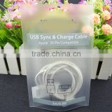 header plastic packing bag for usb sync & charge cable / transparent phone accessories packing bag