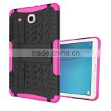 Factory direct Slim tyre style shockproof rubber armor case for Samsung Galaxy Tab E 9.6 inch T560 with foldable stand