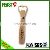 Kitchen tool Printed logo Stainless steel bottle opener wooden handle custom bottle opener