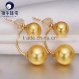 golden pearl earrings double pearl AAA akoya pearl 6-6.5mm,8-8.5mm 18k gold