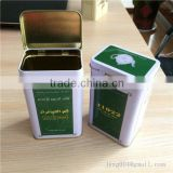 Cheapest Wholesale china factory directly customized rectangle green tea packing tin can with hinge