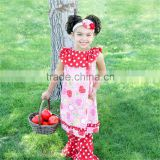 Hot Selling Baby Girls Apple Bib Dress Polka Ruffle Legging Back to School Boutique Outfits