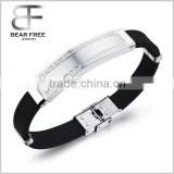 Good price simple wide mens titanium Stainless steel Rubber silicone Chain bracelets Bangles the Great Wall Texture Edge