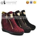 2016 clinton comfort winter shoes fashion ladies suede boots with black rhinestone