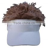 cotton twill fake fur sun visor cap,sunvisor cap with hair                                                                         Quality Choice