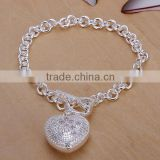 wholesale jewelry fashion 2014 heart pendant chain 20CM*0.5CM 925 sterling silver bracelet