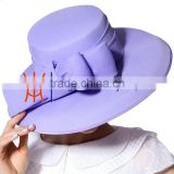 2015 New Arrival Summer Ladies Chiffon Formal Hats With Big Bowknot In Elegant Purple Color