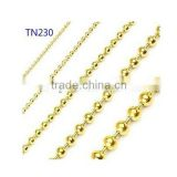 Unique Women Gold Plated small titanium bead necklace 50cm Pendant Necklace with Beaded Chain as Gift