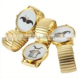 ladies solid gold watches metal mustache watch