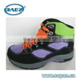 good quality purple green cow leather with fur lining women hiking shoes