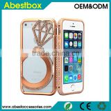 Metal Bumper frame+Luxury Rhinestone Diamond Ring Cover Bling Phone Case For iPhone 5/5S