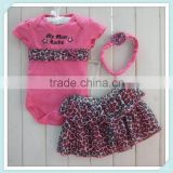 Baby pettiskirt with romper and headband girl pettiskirt in set European clothes girl skirt leopard 3 pcs set