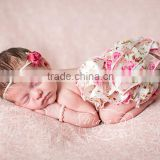 Boutique newborn toddlers underwear baby lace bloomer satin ruffle pants diaper cover with bow