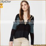 New arrival lady V neck long sleeve split hem contrast knitted sweater woolen knitted blouse