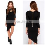 Women long sleeve round neck simple fashion black tight fitted asymmetric casual dress wholesale
