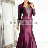 2 pieces scoop neck beaded satin ball gown long sleeve purple evening gowns
