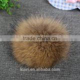 100% Real Raccoon Fur Pom Pom Keychain Fluffy Fur Balls Genuine Fur Pompons for Bag Hats Cap Scarf Gloves with Buttons
