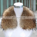 Factory suppy natural color raccoon fur collar for clothing wholesale