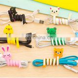 promotion high quality cute soft pvc long animal shaped headphones cable bobbin winder