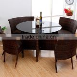 rattan tempered glass table set combined outdoor furniture rattan table and chair