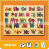 2015 High Seach Wood Letters toys Kids Puzzle Toys Multi Color Letters puzzle for Children