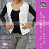 New arrival wholesale sexy clubwear long sleeves black white jacket for women