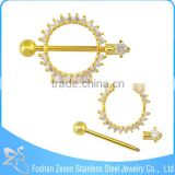 Barbell Type Crystal Gold Circle Nipple Ring Body Jewelry Nipple Piercing