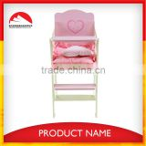 Safe Pinky Wood Baby doll High Chair
