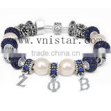 Vnistar pearl and crystal beads bracelets with zeta phi beta dangles 2016 hot ZPB jewelry for girls cheap wholesale