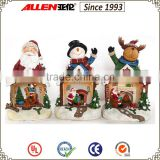 "8.3"" reindeer resin figurine with Christmas Santa and fireplace mini scene"