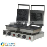 Hot sale electric automatic 4 heart aand 2 square cast iron rectangle puffed rice cake maker machine