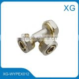 Brass equal threaded tee for pex/al/pex pipes/underground heating tube connect brass fittings