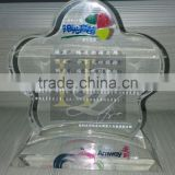 custom clear flower shape acrylic awards/trophies/souvenir with base