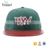 design 3d embroidery logo acrylic snap back hat leather brim