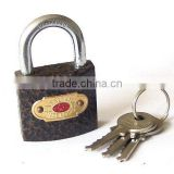 red plastic coated padlock