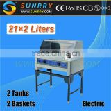 New Product 2tank 2 basket 14L*2 industrial electric deep fat fryer with guard element for frying with CE for sale