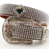 Western Fashion Strass Diamond Chain Cowgirl Rhinestone Cowhide Belt