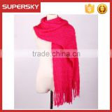 A-603 women fashion custom hand knitting scarf feather yarn feather yarn stretchy scarf with tassel feather yarn knitted scarf