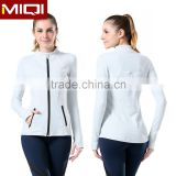Custom breathable four needles six theads zipper blank nylon jacket sweatshirt for women without hood