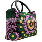 RTHHB-32 Wholesale Jaipur Suzani Embroidery Unique Present For Loved Ones Leather Tote Handbags / Hand bags India Manufacturers