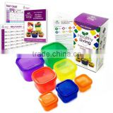 Healthy Living 7 Piece Portion Control Containers Kit with COMPLETE GUIDE, Multi-Colored Coded System, 100% Leak Proof.