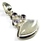 925 sterling silver jewelry wholesale rainbow moonstone pendant natural amethyst stone pendant