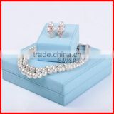 High End Light Blue PU leather Custom Jewelry Box Set Wholesale Ring Box Necklace Box
