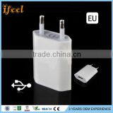 OEM Newest Design Full 5V 1a Colorful US EU Plug MFi Certified Travel Wall Charger For iphone/for Samsung/for HTC