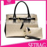 2015 hot beautiful shoulder bag/wallet 2 pcs in1 set genuine ostrich leather handbags guangzhou