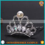 2016 latest fashion freshwater pearl crown jewelry hair accessories